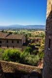Ansicht der umbrian Hügel von der Stadt von Assisi, Italien Stockfotos