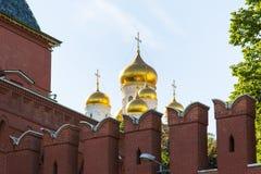 Ansicht der Wand und der Annahme Kathedrale des Moskaus der Kreml an einem klaren sonnigen Tag stockbild