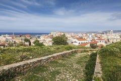 Ansicht der weißen Häuser von Chania-Stadt von oben, Kreta, Greec Stockfotografie