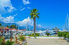 Ansicht der Yachten im Hafen von Kemer (Kemer-Jachthafen) Lizenzfreies Stockbild