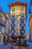 Ansicht des alten Albergo Ristorante, Bergamo, Italien Stockfoto