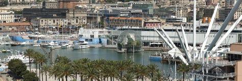 Ansicht des alten Hafens von Genua Stockfotografie