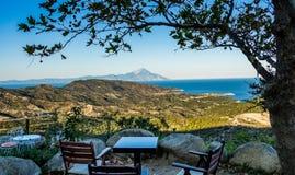 Ansicht des Athos-Berges Lizenzfreies Stockfoto