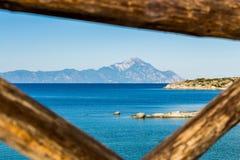 Ansicht des Athos-Berges Lizenzfreie Stockfotos