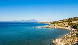 Ansicht des Athos-Berges Stockbilder