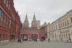 Ansicht des Auferstehungs-Tors in Moskau, Russland lizenzfreie stockbilder