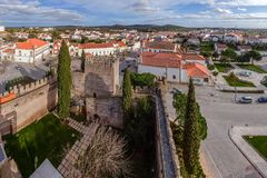 Ansicht des Baileys Medieval Castelo de Alter Chao tun lizenzfreie stockfotografie
