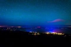 Ansicht des Bar-Hafens nachts von Caddilac-Berg, Acadia Natio Lizenzfreie Stockfotografie