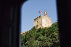 Ansicht des berühmten Alhambra-Palastes in Granada von Albaicin Quar Lizenzfreies Stockbild