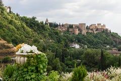 Ansicht des berühmten Alhambra-Palastes in Granada von Sacromonte qu Lizenzfreie Stockfotos