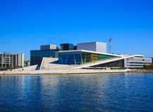 Ansicht des berühmten Opernhauses in Oslo Stockbilder