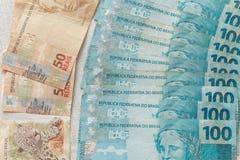 Ansicht des brasilianischen Geldes/der Reais Stockfotografie