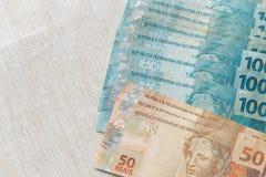 Ansicht des Brasilien-Geldes/-Reais Stockfotografie