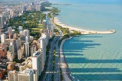 Ansicht des Chicagos von der Hancock-Mitte Stockbild