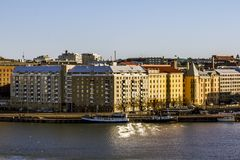 Ansicht des Dammes des Westhafens in Helsinki Lizenzfreies Stockfoto