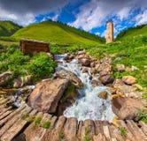 Ansicht des Dorfs Adishi Lizenzfreie Stockfotografie