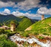 Ansicht des Dorfs Adishi Georgia, Stockfotografie