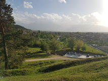 Ansicht des Dorfs von Bania lizenzfreie stockbilder