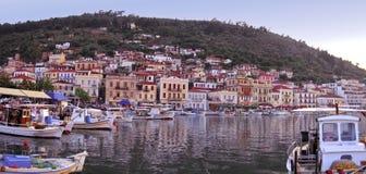 Ansicht des Dorfs von Gytheio in Griechenland Stockbilder