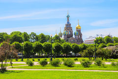 Ansicht des Feldes von Mars und von Kirche des Retters, Heiliges-Peteresburg, Russland Stockfotos