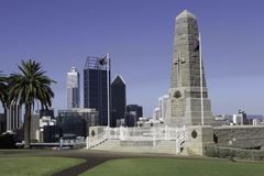 Ansicht des Finanzbereichs, der Büros und Handelsder gebäude und der Wolkenkratzer der Stadt von Perth Lizenzfreies Stockfoto