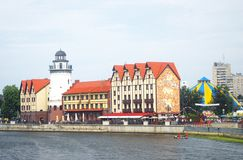 Ansicht des Fischdorfs, Kaliningrad, Russland Stockbild