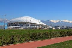 Ansicht des Fisht-Stadions vom olympischen Damm Russland Stockbild