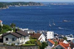 Ansicht des Fjords und der Inseln, Norwegen Stockbilder