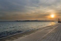 Ansicht des Flusses der Tajo in Lissabon Lizenzfreies Stockfoto