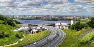 Ansicht des Flussstadtteiles von Nischni Nowgorod Stockfoto