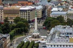Ansicht des Freiheitsmonuments in zentralem Riga in Lettland Lizenzfreies Stockbild