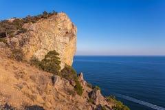Ansicht des gelben Felsens mit den Bäumen und Büschen, die über Meer hängen Stockfoto