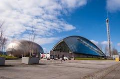 Ansicht des Glasgow-Wissenschaftsmuseums und des Imax-Kinos Stockfoto