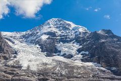 Ansicht des Gletschers Monch und Eiger Stockbilder