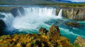 Ansicht des Godafoss-Wasserfalls Lizenzfreie Stockfotografie