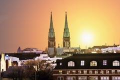 Ansicht des gotischen Kirchen-St. Johannes bei Sonnenuntergang Lizenzfreies Stockbild