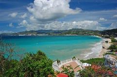 Ansicht des großartigen Anse Strandes vom Hotel Lizenzfreie Stockfotografie