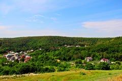 Ansicht des Häuschendorfs Stockfotografie