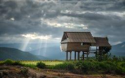 Ansicht des Häuschens in Bong Piang-Wald mit Sonnenstrahl in bewölktem stockfotografie