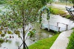 Ansicht des hölzernen Piers, der mit blauem Blumen- und Wasserli verziert Stockfoto