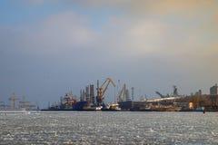 Ansicht des Hafens Stockbild