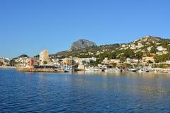 Ansicht des Hafens in Javea auf Costa Blanca, Spanien stockfoto