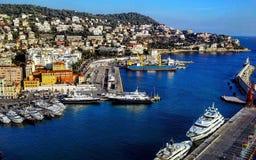 Ansicht des Hafens vom Schloss-Hügel, Nizza, Taubenschlag d ` Azur, Riviera, Frankreich Lizenzfreie Stockfotos