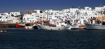 Ansicht des Hafens von Naoussa Lizenzfreie Stockfotos