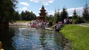 Ansicht des Heilig-heiligen Frühlinges im Dorf Diveyevo, Russland stock video footage