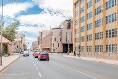 Ansicht des Heiligen Andrews Street in Bloemfontein Lizenzfreies Stockbild