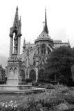 Ansicht des hinteren Teiles des Gebäudes von Notre Dame de Paris Stockbild