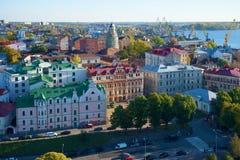 Ansicht des historischen Teils von Wyborg am Oktober-Abend, Leningrad-Region Lizenzfreies Stockfoto