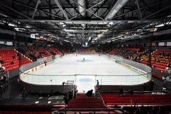 Ansicht des Hockeyfeldes Stockfotos