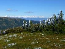 Ansicht des hohen Tatras mit Schnee-mit einer Kappe bedeckten Spitzen, niedriger Nationalpark Tatras, Slowakei stockfoto
